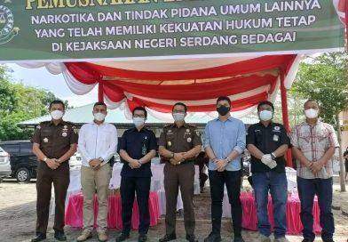 Pengadilan Negeri Sei Rampah Mengikuti Acara Pemusnahan Barang Bukti Narkotika dan Tindak Pidana Umum Lainnya