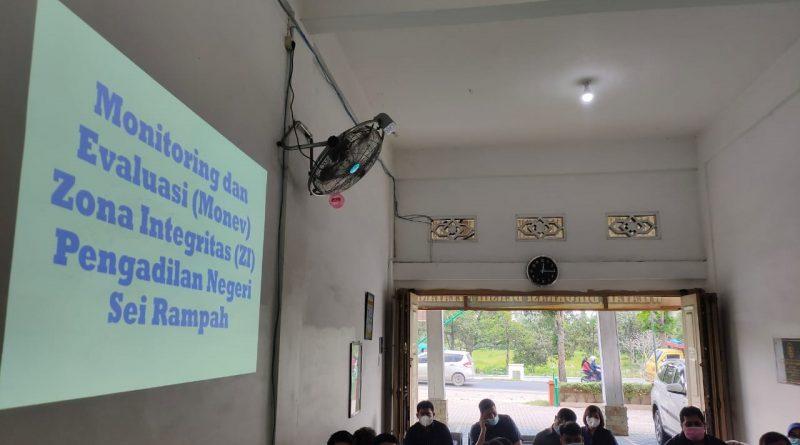 Rapat Bulanan Bulan Mei 2021 serta Rapat Monitoring dan Evaluasi APM dan ZI Pengadilan Negeri Sei Rampah