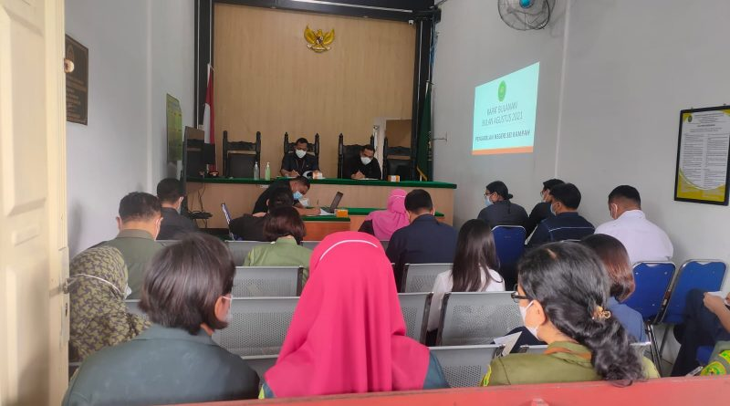 Rapat Bulanan Bulan Agustus 2021 serta Rapat Monitoring dan Evaluasi APM dan ZI Pengadilan Negeri Sei Rampah