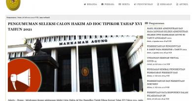 Pengumuman Seleksi Calon Hakim Ad Hoc Tipikor Tahap XVI Tahun 2021