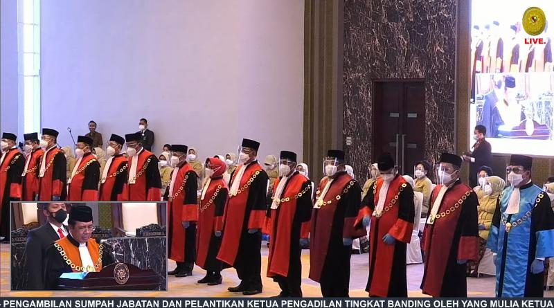 Pengambilan Sumpah Jabatan dan Pelantikan Ketua Pengadilan Tingkat Banding oleh Yang Mulia Ketua Mahkamah Agung Republik Indonesia